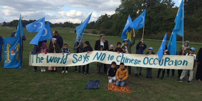 Uyghur protest outside Chinese embassy on Occupied East Turkistan Day