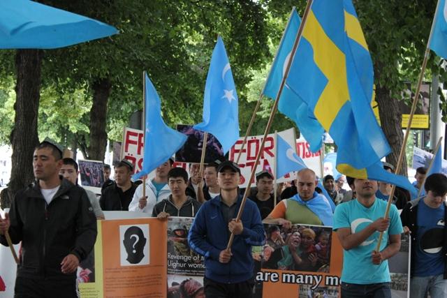 5 Temmuz 2009 da meydana gelen olayların yıldönümü nedeniyel İsveç'in başkenti Stockholm'de protesto gösterisi düzenlendi